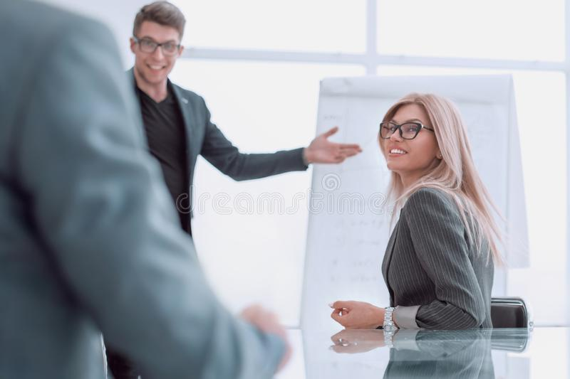 Project Manager holds a meeting with a presentation for the business team. Photo with copy space stock photography