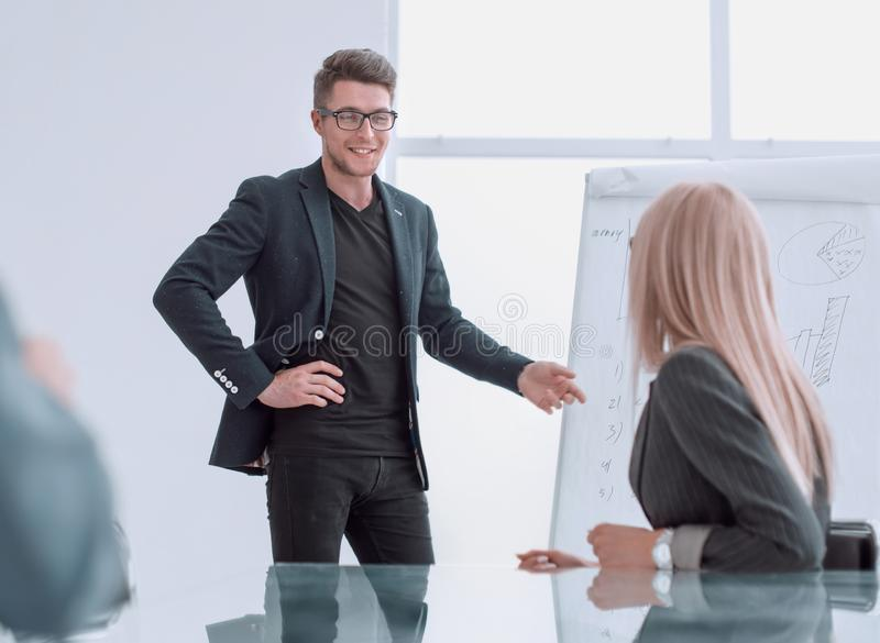 Project Manager holds a meeting with a presentation for the business team. Photo with copy space stock photo