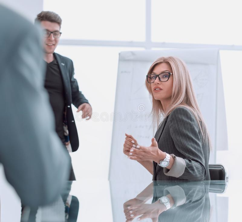 Project Manager holds a meeting with a presentation for the business team. Photo with copy space royalty free stock photo