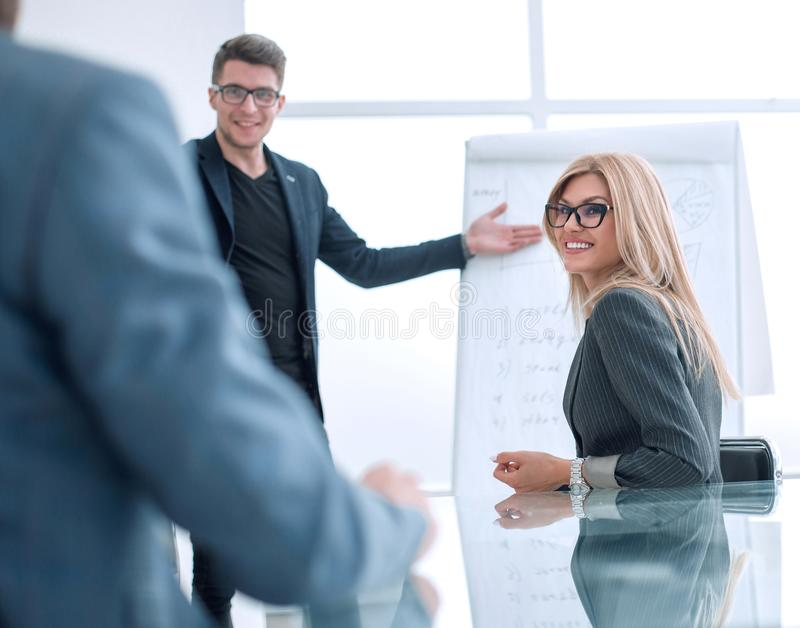 Project Manager holds a meeting with a presentation for the business team royalty free stock images