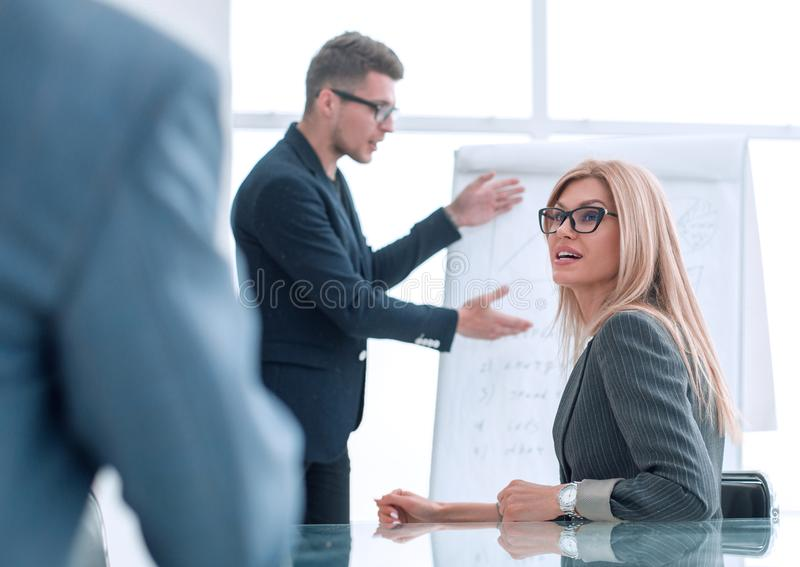 Project Manager holds a meeting with a presentation for the business team royalty free stock photography