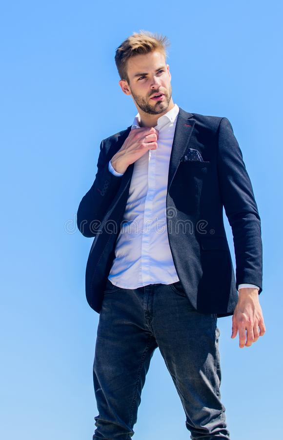 Project manager ready to work. formal male fashion. modern lifestyle. confident businessman. Handsome man fashion model royalty free stock photography