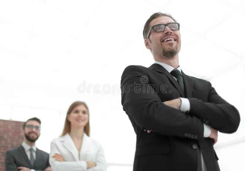 Project Manager standing in front of his business team stock photos