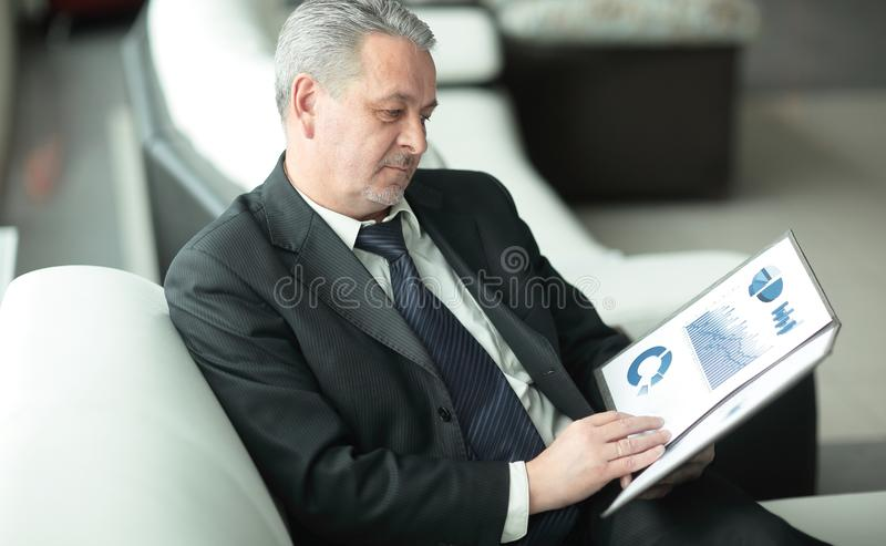 Project Manager studies the financial data.business concept stock photo