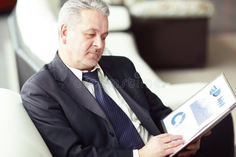 Project Manager studies the financial data.business concept royalty free stock image