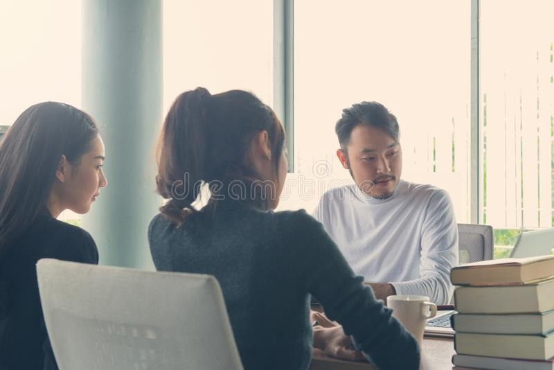 Project manager team discussing new idea of Business Corporate P stock images