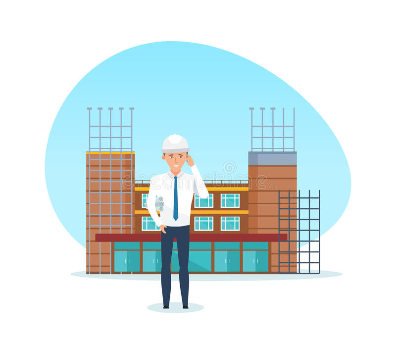 Project manager, with technical documentation, against background of under construction. royalty free illustration
