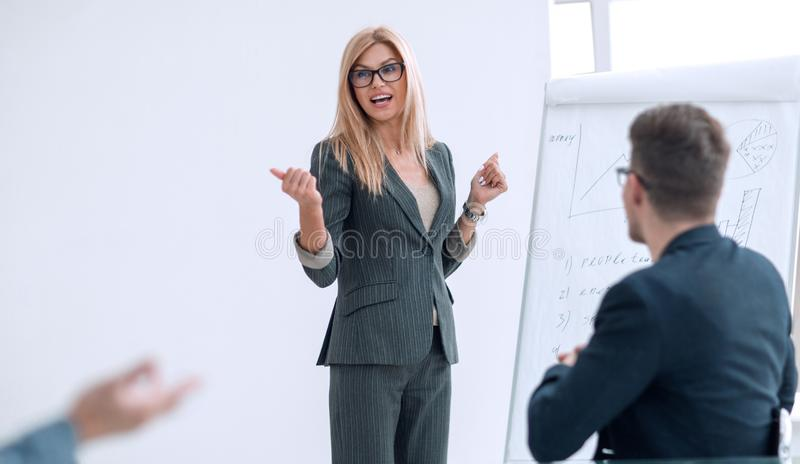 Project Manager telling a business partner about a new project royalty free stock images