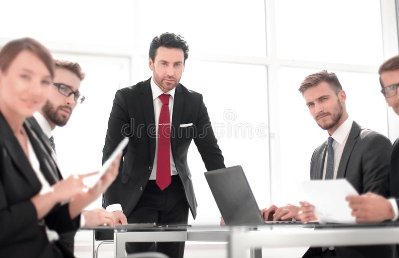 Project Manager at a working meeting with the business team. Office weekdays royalty free stock images