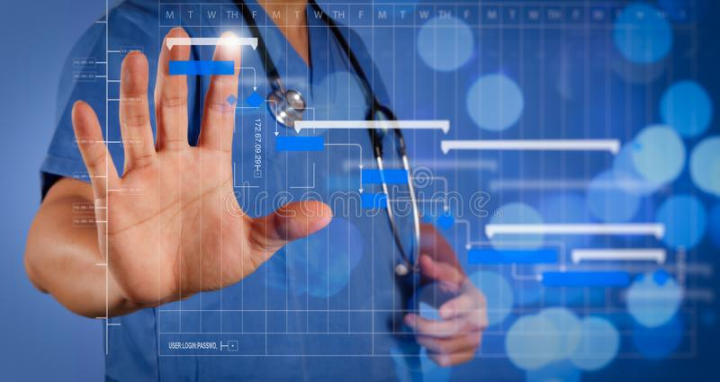 Double exposure of success smart medical doctor working with abs. Project manager working and update tasks with milestones progress planning and Gantt chart stock photo