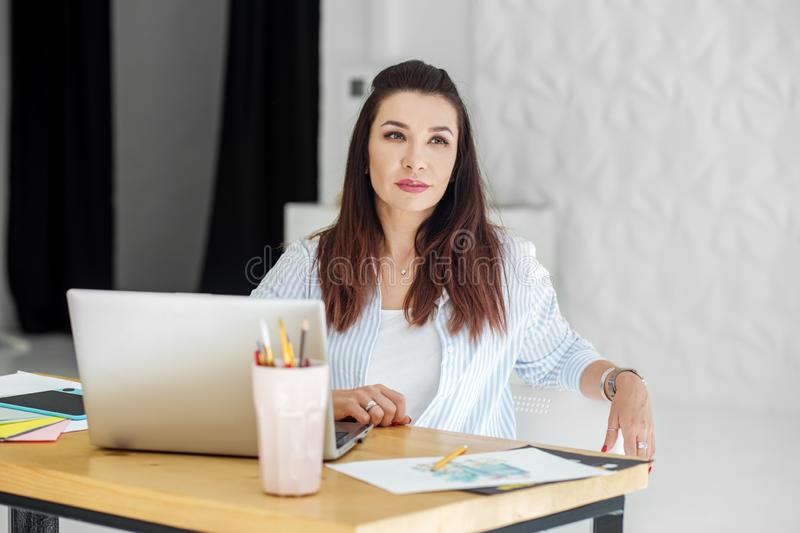 The project manager works in the office. Concept for business, work, career stock images