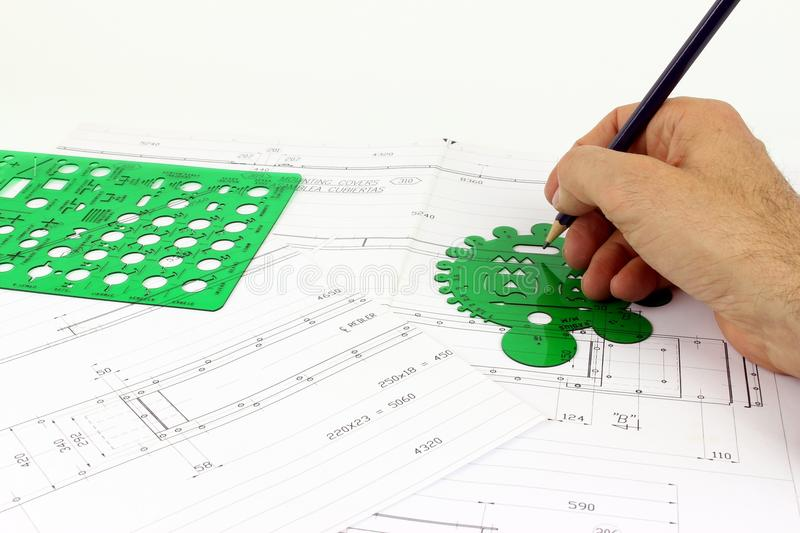 Project mechanical drawing of interior stock photo