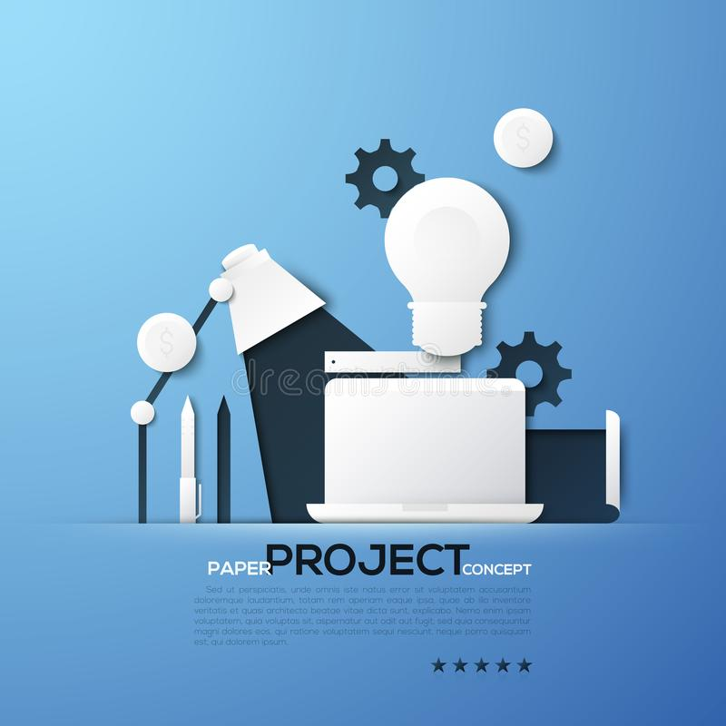 Project paper concept. Laptop, table lamp, light bulb, gear wheels, dollar coins, ruler, pen and pencil. Creative royalty free illustration