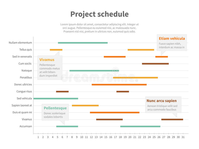 Project plan schedule chart with timeline, gantt progress vector graph royalty free illustration
