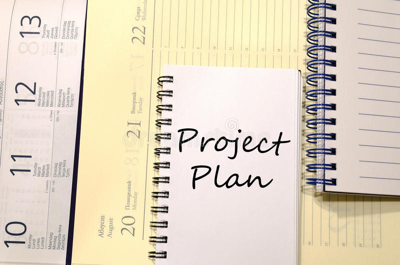 Project plan write on notebook. Project plan text concept write on notebook stock images