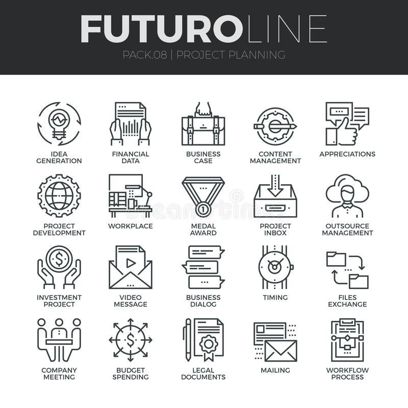 Project Planning Futuro Line Icons Set vector illustration