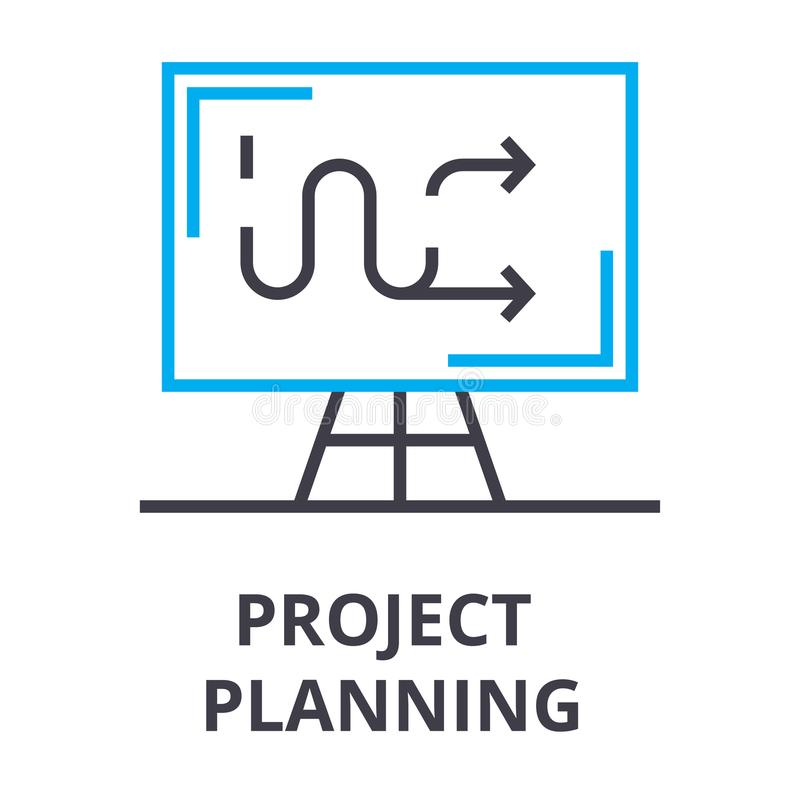 Project planning thin line icon, sign, symbol, illustation, linear concept, vector. Project planning thin line icon, sign, symbol, illustation, linear concept royalty free illustration