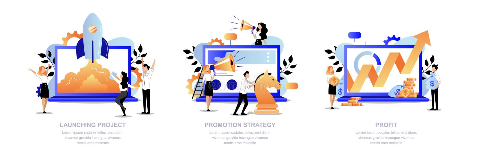Project promotion, marketing strategy concept. Business team launch startup, promotes, get profit. Vector illustration vector illustration