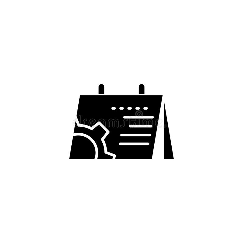 Project schedule black icon concept. Project schedule flat vector symbol, sign, illustration. stock illustration