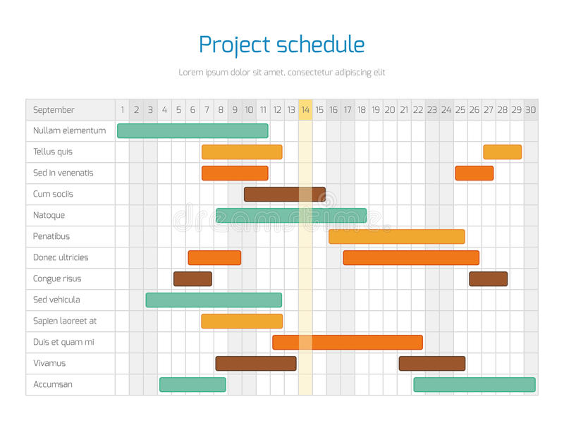 Project schedule chart, overview planning timeline vector diagram. Project infographic business plan illustration royalty free illustration