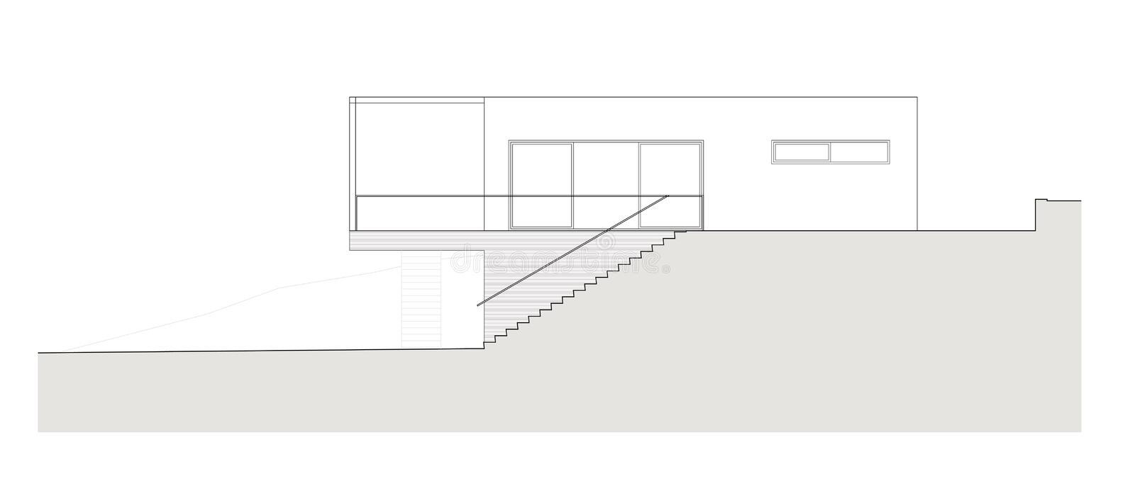 Project of the single family house. Drawing: facade of the single family house stock illustration
