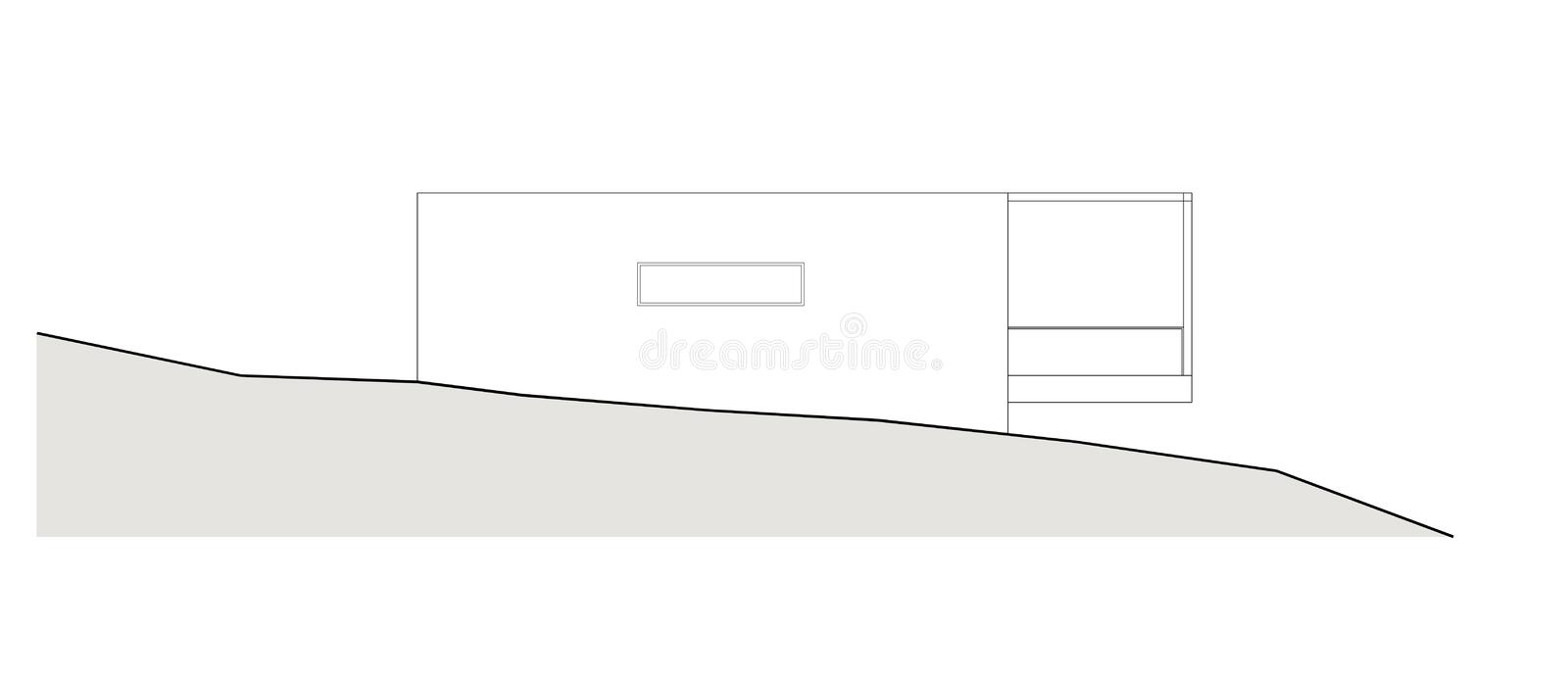 Project of the single family house. Drawing: facade of the single family house royalty free illustration