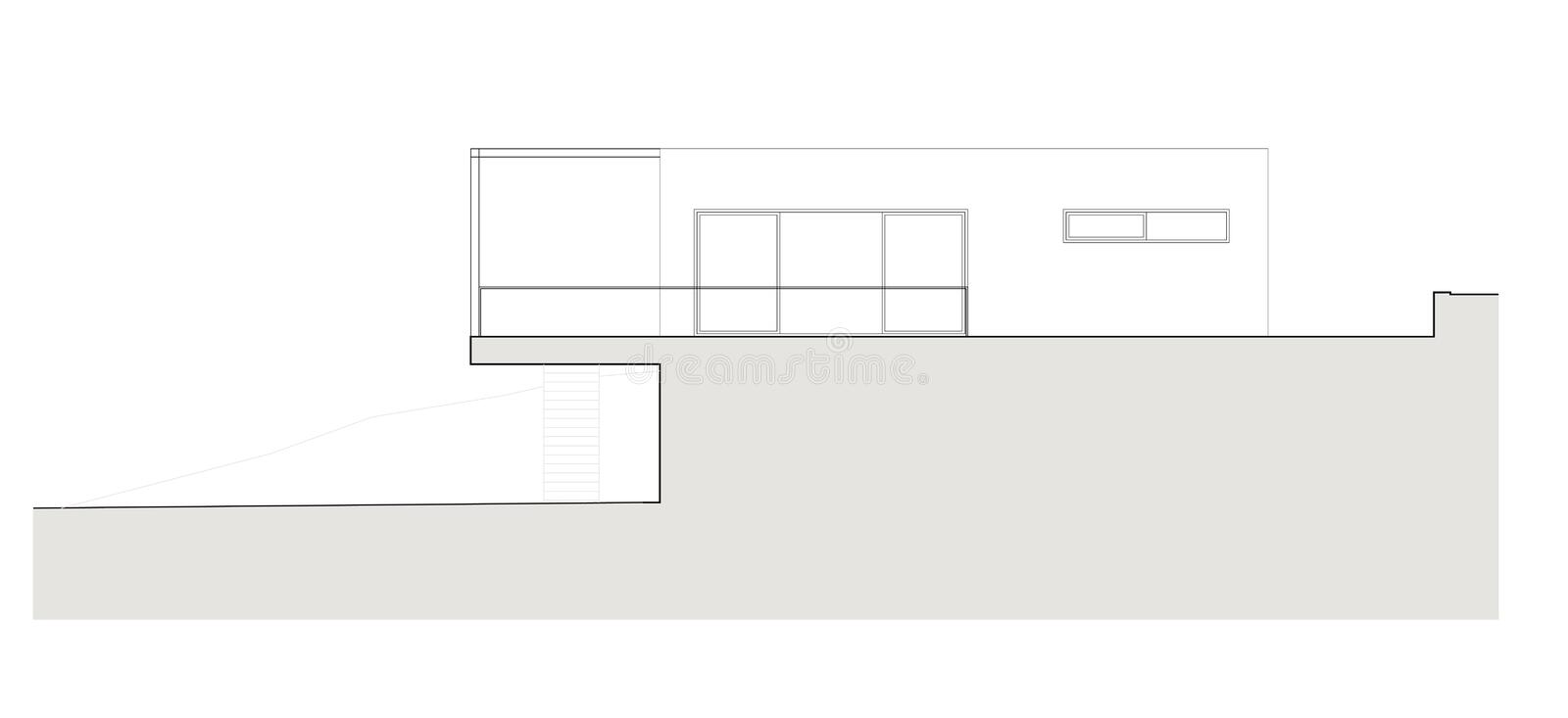 Project of the single family house. Drawing: facade of the single family house vector illustration