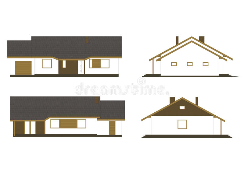 Project of the single family house. Drawing: facade of the classic single family house stock illustration