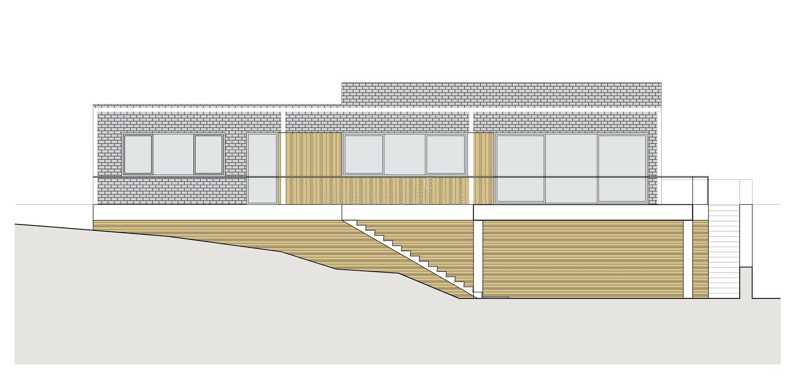 Project of the single family house. Drawing: facade of the classic single family house royalty free illustration
