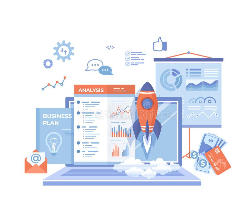 Project Startup Financial planning Idea Strategy Management Realization Success. Rocket launch, laptop, report, business plan, mon royalty free illustration