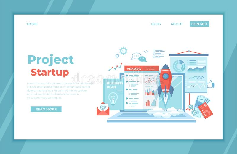 Project Startup. Financial planning Idea Strategy Management Realization Success. Rocket launch, laptop, report, business plan, royalty free illustration