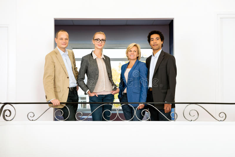 Project team on balcony royalty free stock image