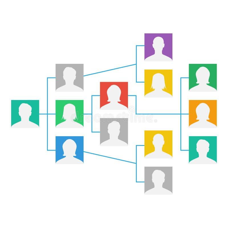Project Team Organization Chart Vector Collega's die samenwerken De Hiërarchische Diagramillustratie vector illustratie