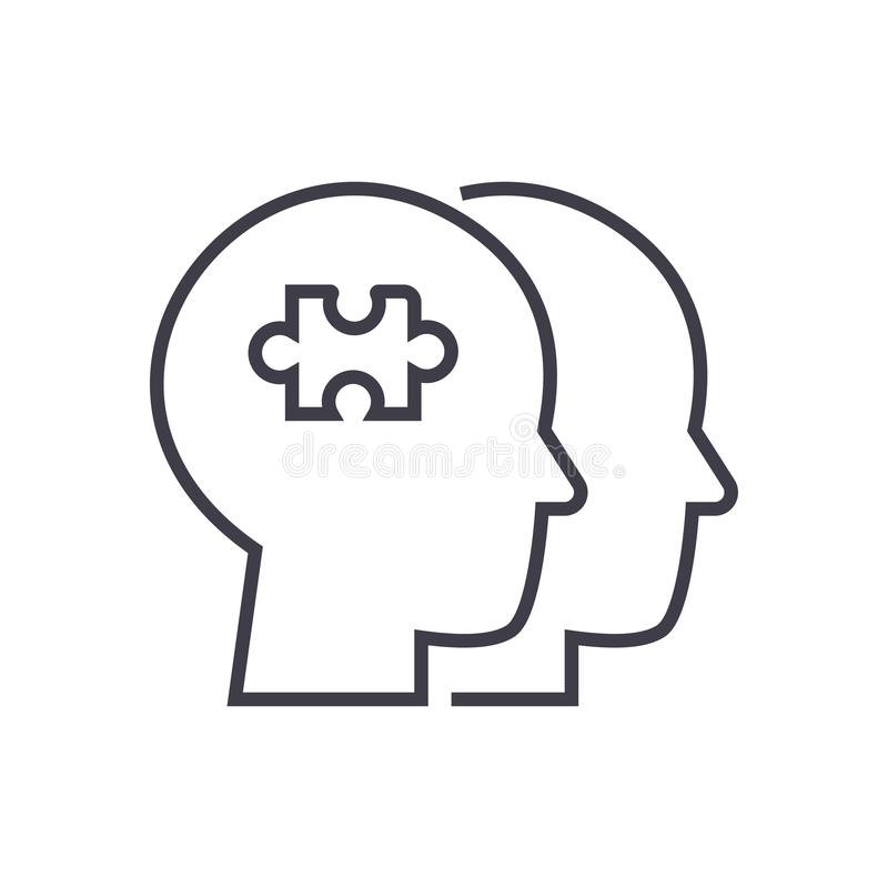 Project team, puzzle in head vector line icon, sign, illustration on background, editable strokes royalty free illustration