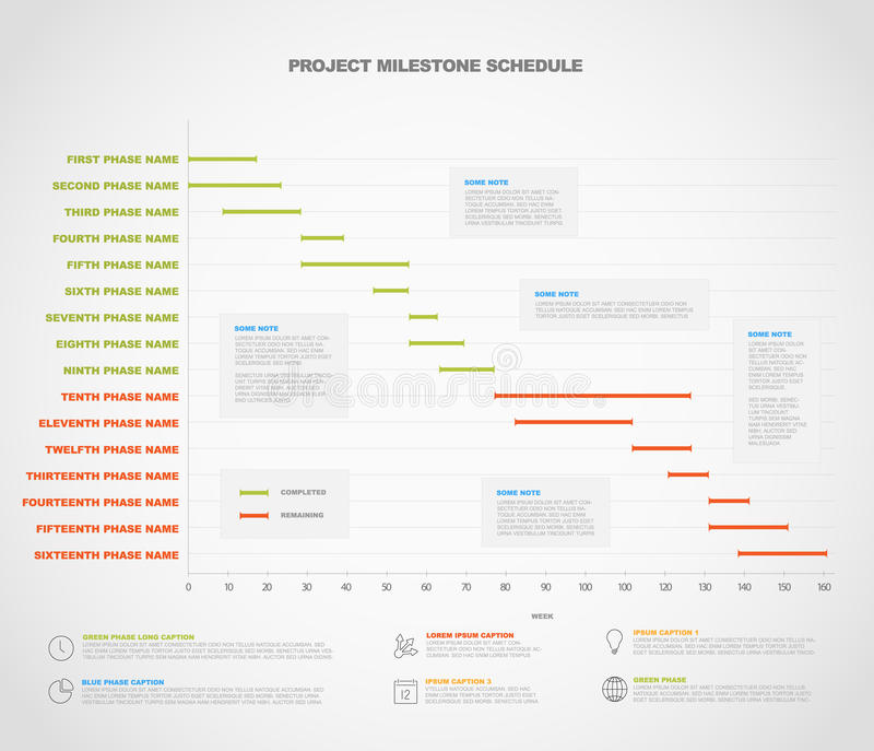 Project timeline graph - gantt progress chart of project vector illustration