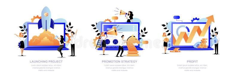 Projectbevordering, marketing strategieconcept Van de commerciële het opstarten teamlancering, bevordert, krijgt winst Vector ill vector illustratie