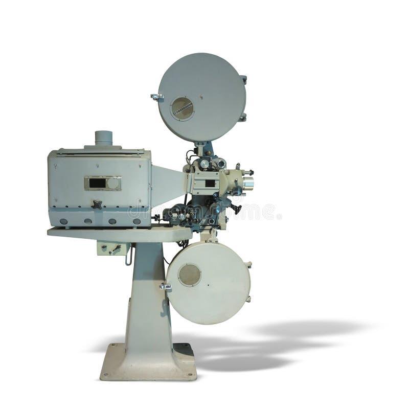Projecteur de film démodé de vintage de film de cinéma d'isolement sur le wh photos libres de droits