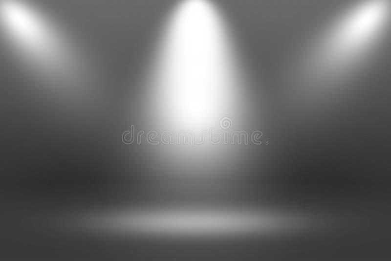 Projecteur de Showscase de produit sur le fond noir - plancher clair d'obscurité d'horizon infini image stock