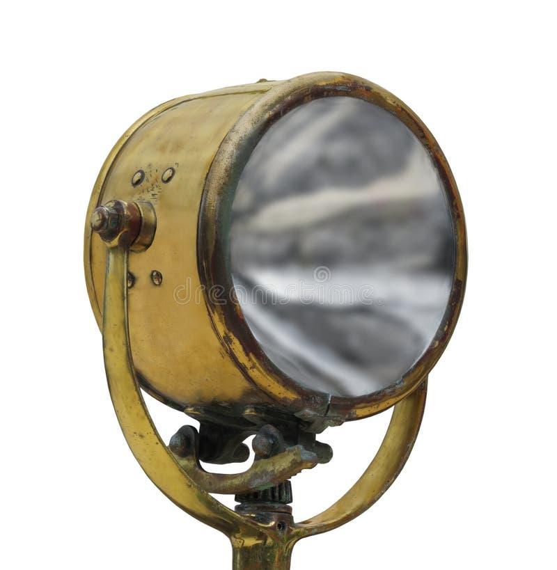 Projecteur en laiton de vintage d'isolement image libre de droits