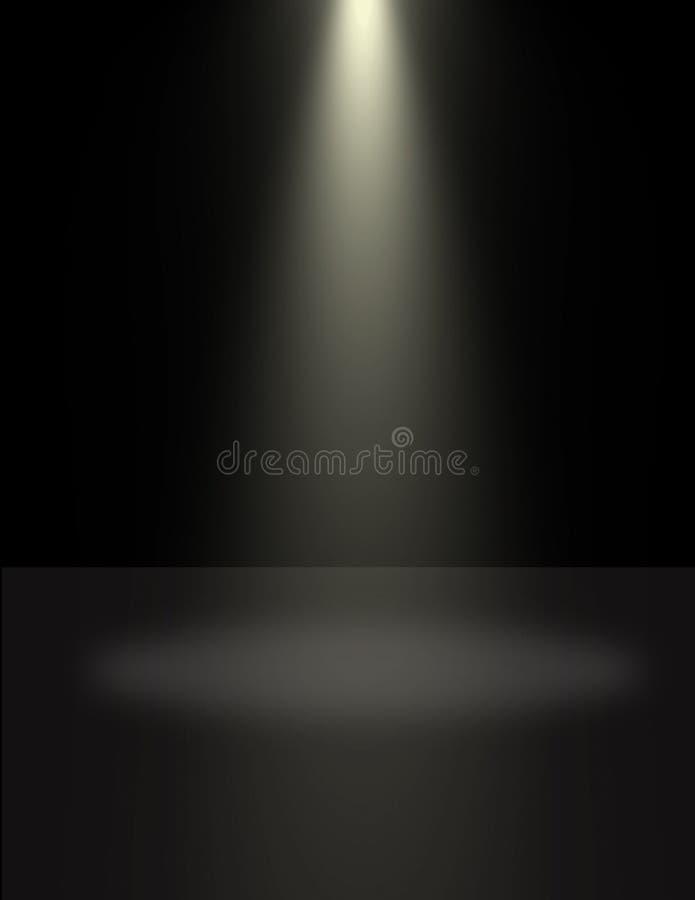 Projecteur illuminant un cercle de lumière au sol image stock