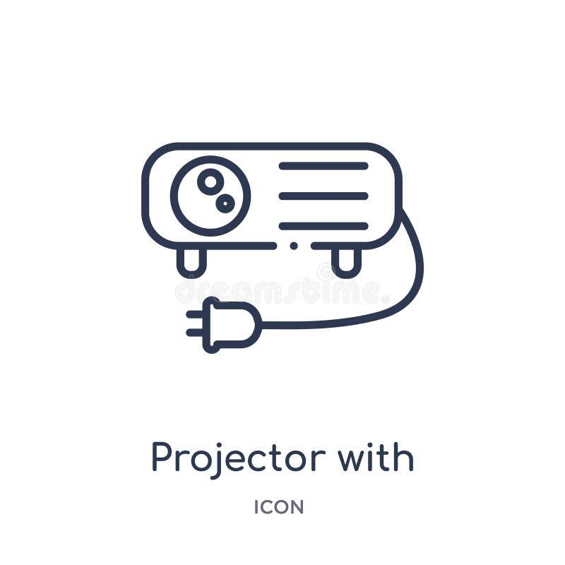 Projecteur linéaire avec l'icône de prise de la collection d'ensemble de cinéma Ligne mince projecteur avec le vecteur de prise d illustration libre de droits