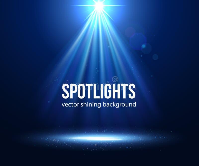 Projecteur lumineux par scène de vecteur Projecteur foncé illustration stock