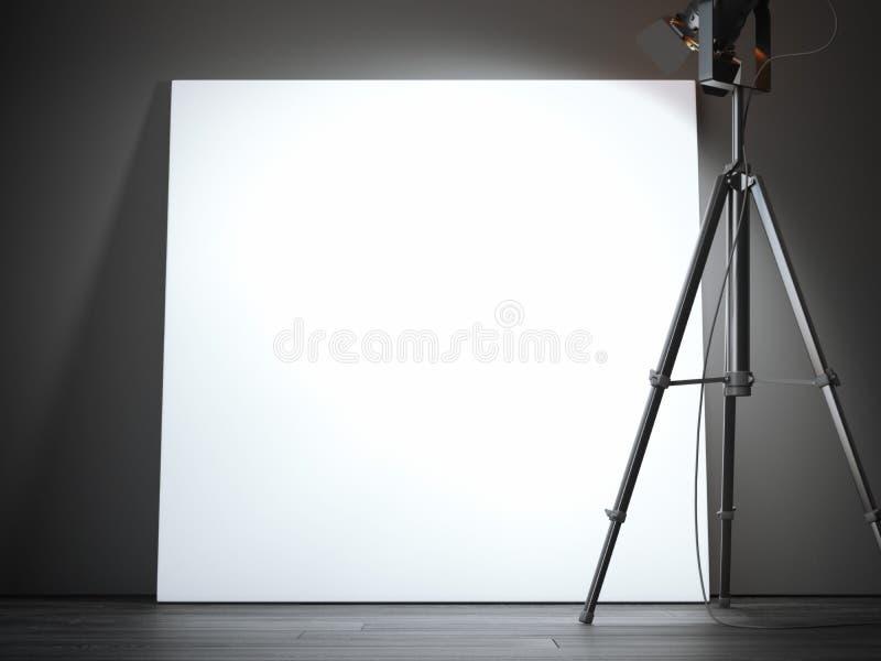 Projecteur noir et grande toile vide rendu 3d illustration stock