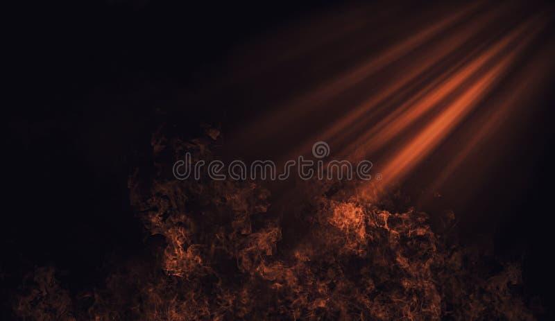 Projecteur orange abstrait avec des recouvrements de texture de fumée de mystère Élément de conception images libres de droits