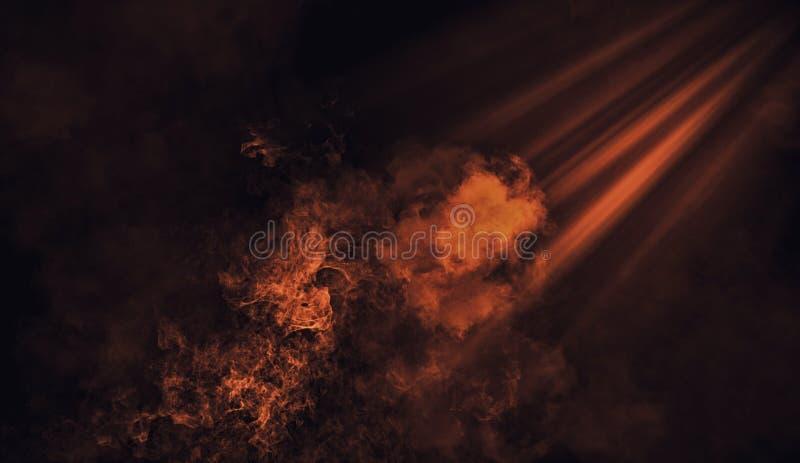 Projecteur orange abstrait avec des recouvrements de texture de fumée de mystère Élément de conception photos stock
