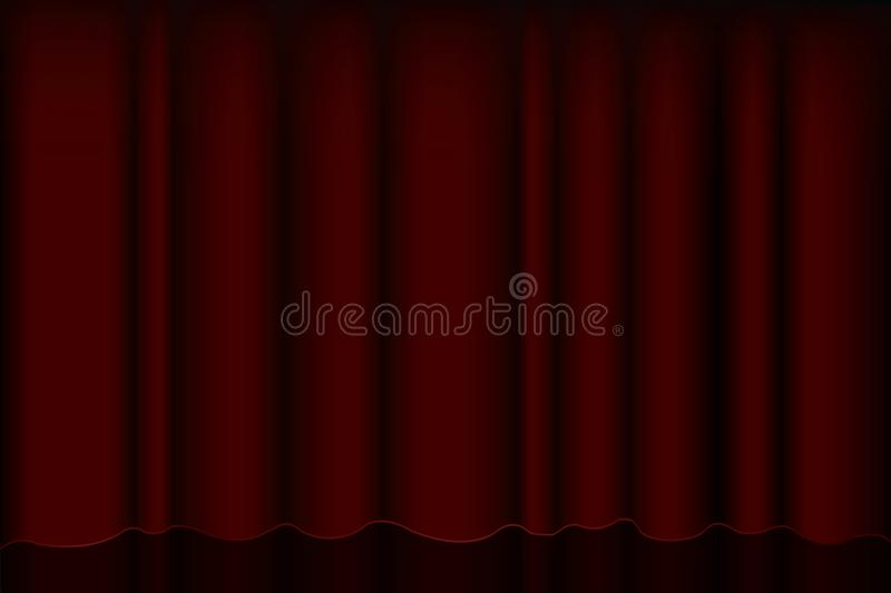 Projecteur rouge sur le rideau en étape pour les expositions et l'écran intérieur théâtral de première avec des rideaux et des si illustration libre de droits