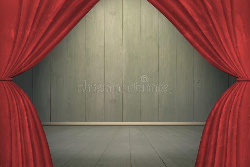 Projecteur sur l'étape avec les rideaux rouges illustration stock