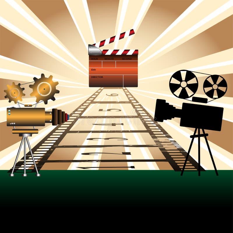 Projecteurs de film et bardeau illustration stock