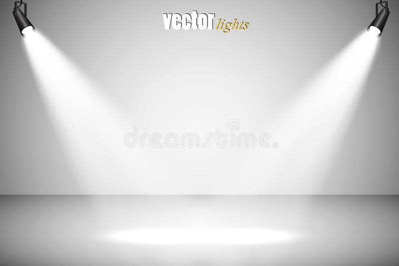 Projecteurs de vecteur scène Effets de la lumière illustration stock