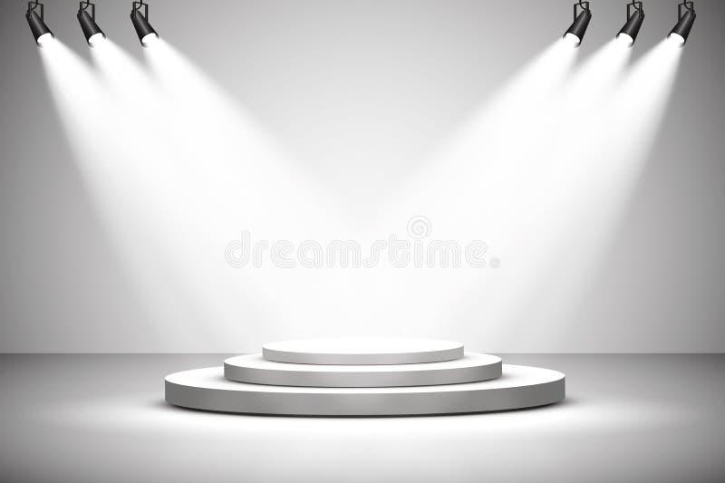 Projecteurs de vecteur scène Podium d'effets de la lumière lumière illustration de vecteur